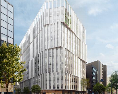 Rendering of the coming mixed-use building in Fukuoka Hakata-Higashi.